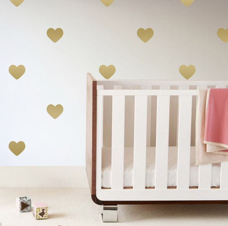 Gold Heart Wall Decals - hearts are trending in the nursery and we love this look for an accent wall!