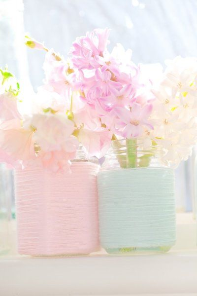 Cottage Decor: Pastel Pink & Blue Vase Upcycle