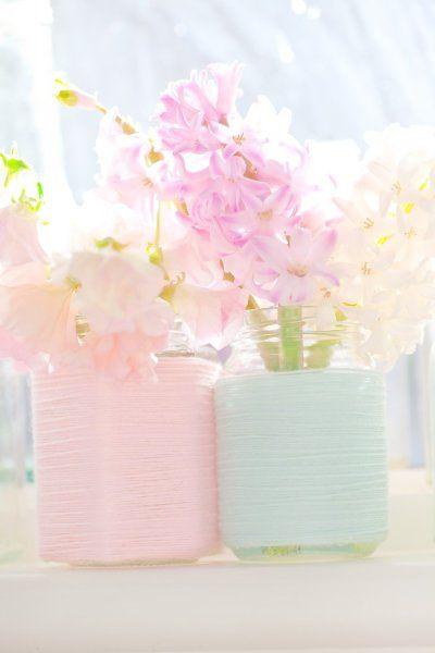 Cottage Decor: Pastel Pink & Blue Vase Upcycle #dreamweddingbox  @Matty Chuah Wedding Notebook