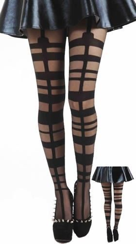 Black Grid Strap Buckle Suspender Pattern Tights, Pamela Mann, OneSize | eBay