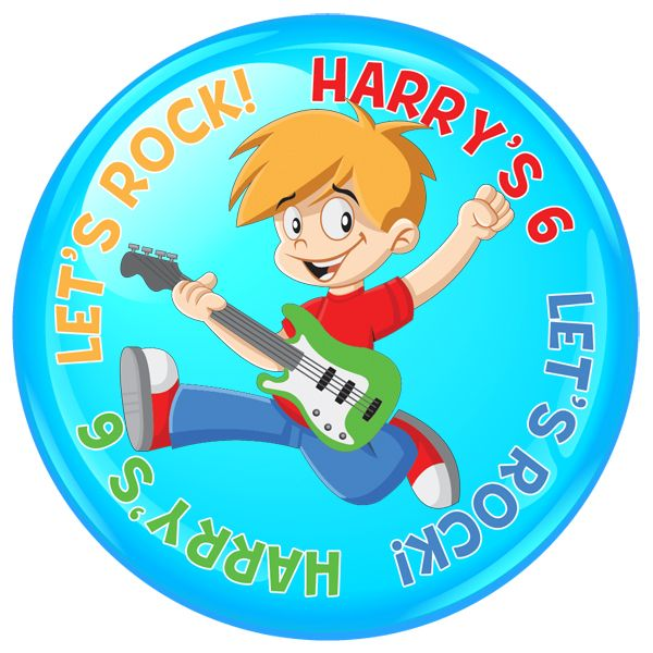 Let's Rock Personalised Birthday Party Badge #473