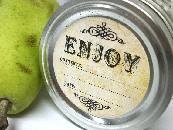 Vintage Enjoy Canning jar labels, 2 inch round stickers for mason jars, fruit  and vegetable preservation, jam and jelly - Cute!