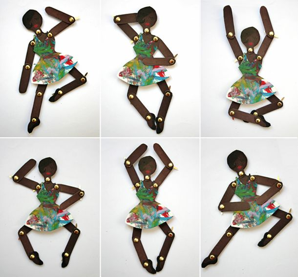 Articulated ballerina craft using cardboard cereal box and brads. Could be used in conjunction with a science lesson on parts of the body (more detailed terms like thigh, calf, torso, etc.)