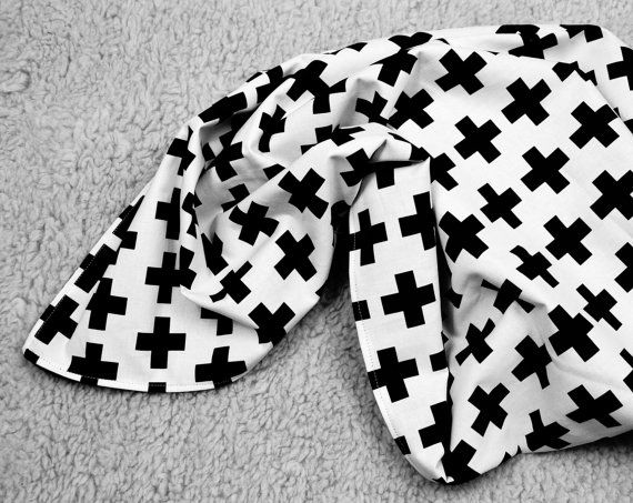 White With Black Crosses Twin Bedding