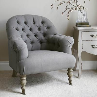 £495 Linen Button Back Armchair - Grey  by Primrose & Plum