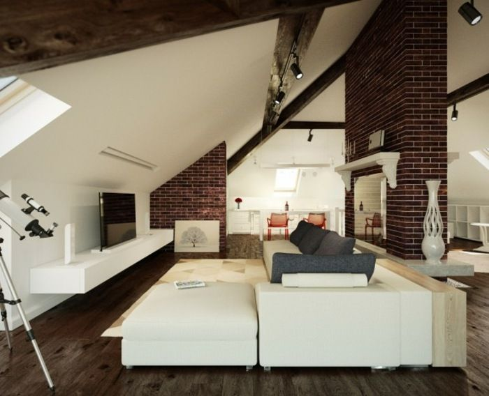 Wohnzimmer einrichten gemütlich unter Dachschräge Home