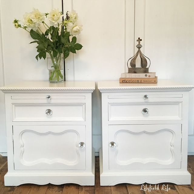 White painted Bedside tables with glass drawer pulls by Lilyfield Life