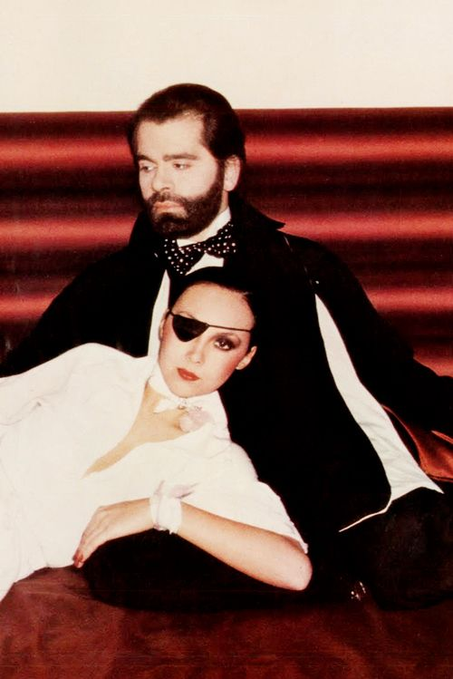 Marie Helvin and Karl Lagerfeld photographed by David Bailey for Vogue UK, 1 March 1975 issue.