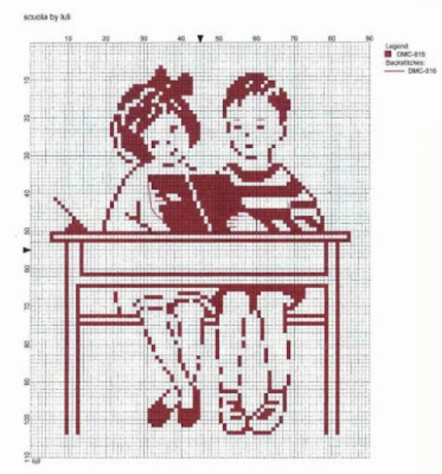 School is Cool with These Back to School Cross Stitch Patterns.: Students in Class by Luli