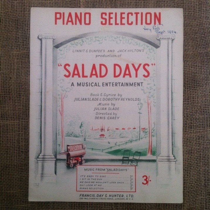 Vintage Sheet Music for Piano Guitar Voice. Salad Days Selection. 1950s 50s Musical by Julian Slade and Dorothy Reynolds