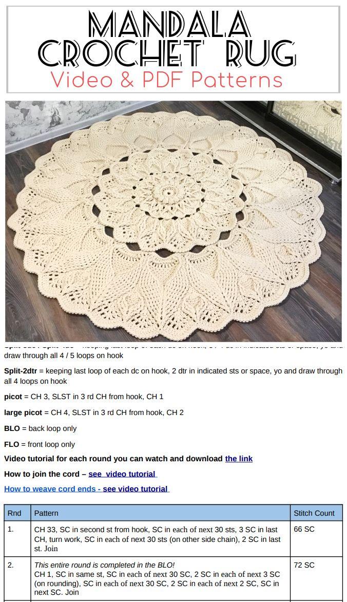 Mandala Crochet Rug Video Pdf Tutorials See All Carpet Patterns In 2020 Crochet Rug Crochet Rug Patterns Crochet