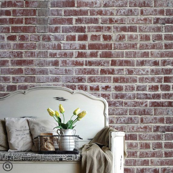 removable brick wallpaper distressed peel stick self adhesive fabric temporary wallpaper repositionable - Temporary Walpaper