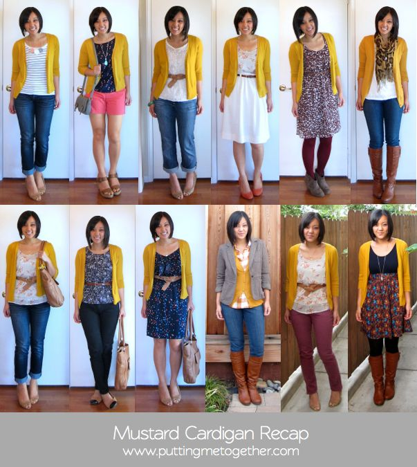 how to wear a cardigan | Mustard Cardigan Options: one , two , three , four