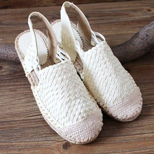 Hot selling, 2015 pure handgemaakte weven schoenen, Vrouwen lederen de retro kunst mori meisje schoenen, zomer flats schoenen,, wit & bruin