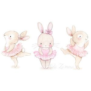 Nursery illustration bunny ballerina