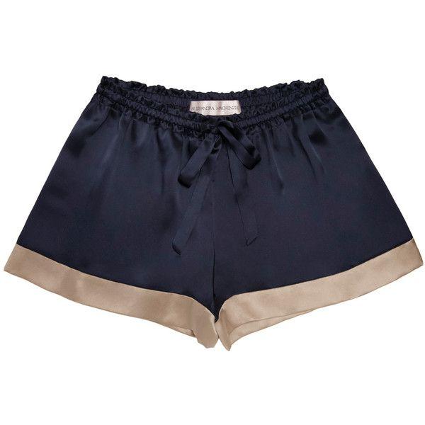 Alessandra Mackenzie Women's Ashley Pajama Shorts - Dark Blue/Navy -... (£67) ❤ liked on Polyvore featuring intimates, sleepwear, pajamas, silk pjs, silk sleepwear, silk pajamas and silk pyjamas