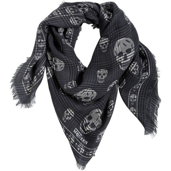 ALEXANDER MCQUEEN Skull Checked Wool & Silk Scarf (3,705 CNY) ❤ liked on Polyvore featuring men's fashion, men's accessories, men's scarves, dark grey, mens wool scarves and mens silk scarves
