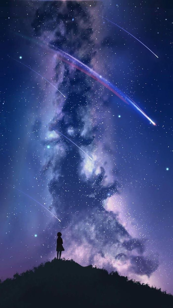 Girl Standing On Top Of A Hill Cartoon Image Shooting Stars On Galaxy Sky 2k Wallpapers Cool Galaxy Wallpapers Galaxy Wallpaper Galaxy Images