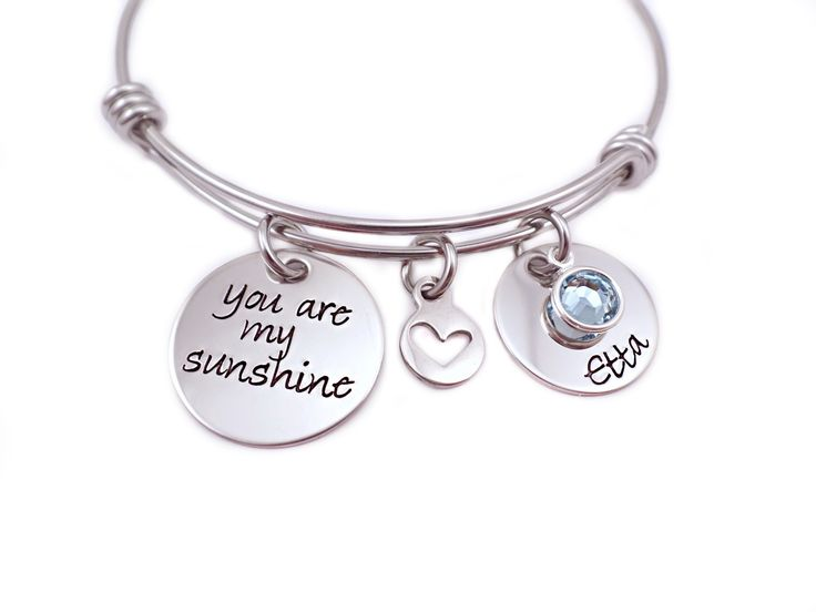 You Are My Sunshine Heart Charm Bangle Bracelet at Sweet Blossom Gifts