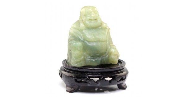 Statueta sculptata in jad serpentin - Budai ( Buddha Hotei ) - China cca.1960