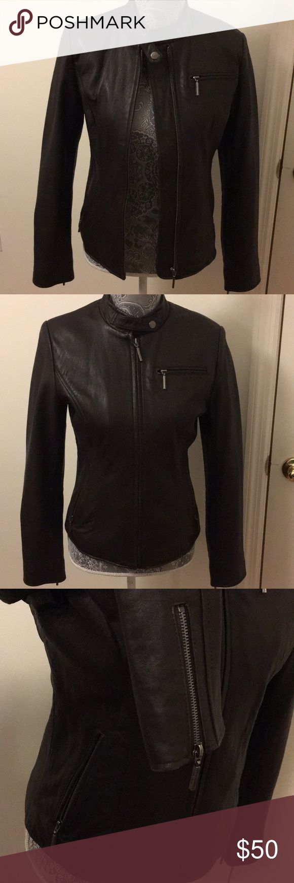 Genuine Leather Boston Harbor Motorbike jacket Beautiful details. Soft leather. Great condition. Priced to sell. Wilsons Leather Jackets & Coats