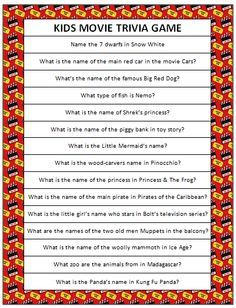 Kids Movie Trivia - free printable game #FamilyFun