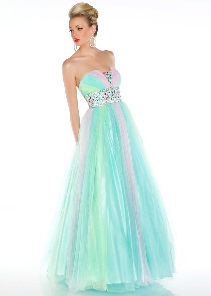 Love the cotton candy colors in this prom dress! (Mac Duggal 4729H)