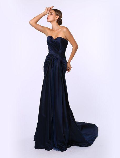 Dark Navy Satin Ruched Sweetheart Neck Evening Dress Inspired by Sandra Bullock at Oscar #Evening #Dress