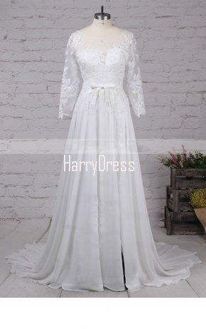 3f1fd4bf2a6 A Line Scoop Neck Chiffon Tulle Sweep Train Appliques Lace Wedding Dress