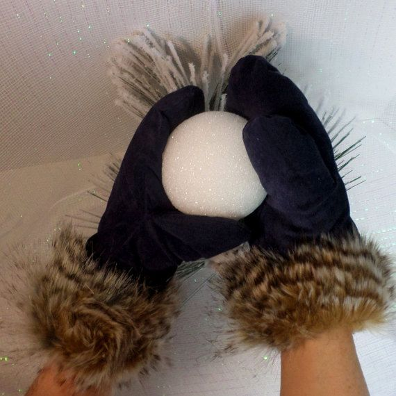 Navy Blue Suede Mittens With Tans Browns Faux Fur Trim, Low Loft Insulation, Fleece Lined, Extreme Cold Weather Accessory, Insulated Gloves  These warm and snuggly mittens ... #llpteam