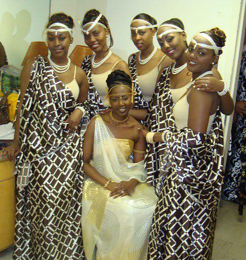 Rwandan bride and bridemaids. Latest African Fashion, African Prints, African fashion styles, African clothing, Nigerian style, Ghanaian fashion, African women dresses, African Bags, African shoes, Nigerian fashion, Ankara, Aso okè, Kenté, brocade etc ~DK