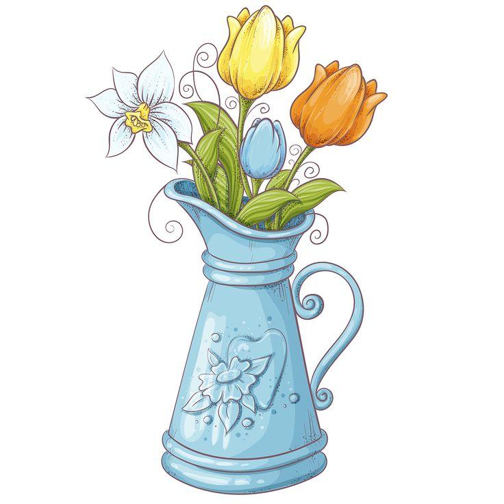 Весенние цветы в вазе в 2020 г | Расписанный холст, Цветы ...
