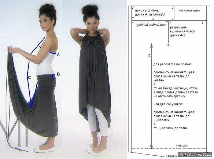 выкройка платье трансформер INFINITE DRESS