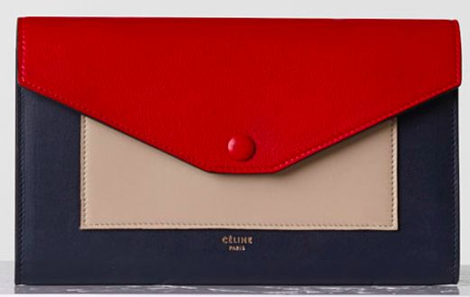 celine POCKET LARGE FLAP ON CHAIN IN BRIGHT RED MULTICOLOUR SMOOTH ...