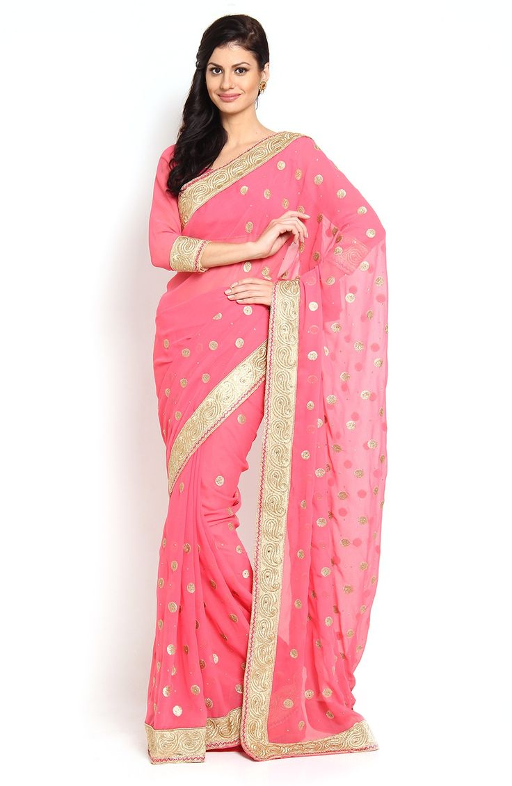 #WithBlousePiece #Fashion #Sari #Georgette #Pink #Saree