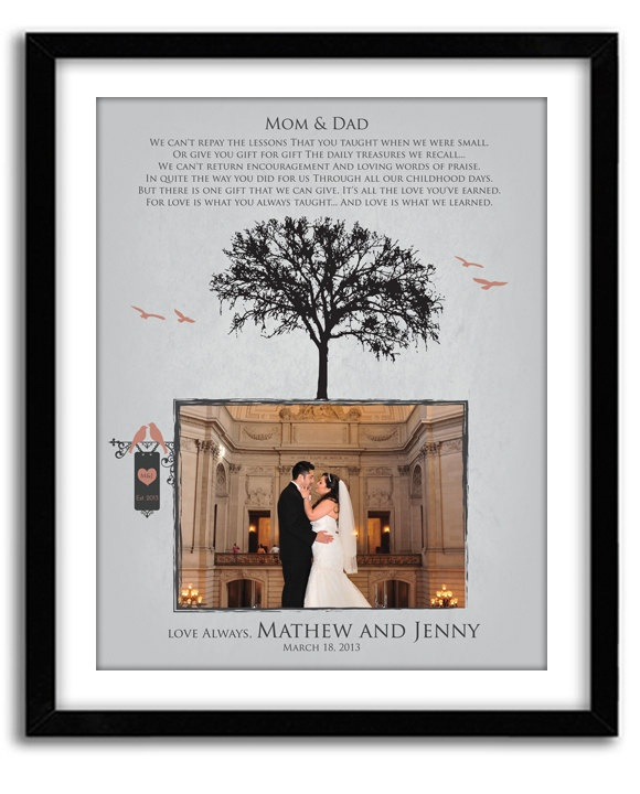 parents' gifts.  Parents Thank You Gift, Wedding GIft for Parents from Bride and Groom, Personalized Photo, Custom Colors, Names and date 11x14 Print. $36.00, via Etsy.