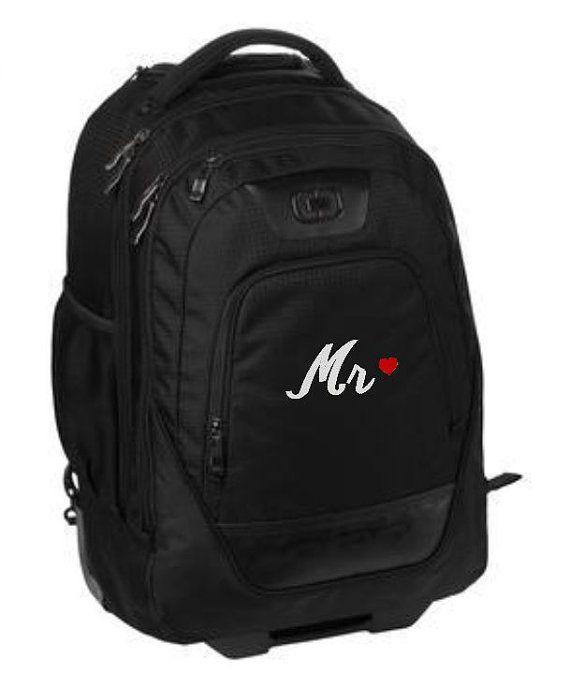 Backpack with Wheels, Groom Gift, Bride Gift, Backpack on Wheels, Monogram Backpack, Personalized Backpack, Travel Backpack, Luggage