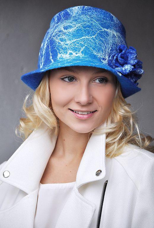 """Купить Шляпа """"Helena"""". - шапка, шляпка, валяная шляпка, Елена Ост, абстрактный, шарф, синий"""