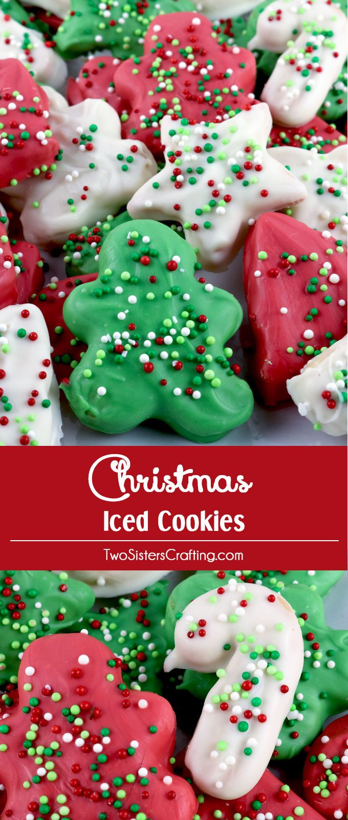 Christmas Iced Cookies - Homemade Circus Animal Cookies but in Holiday shapes and colors. Easy to make and delicious.  Your family will love them!   These Red, White and Green Christmas Treats will definitely stand out at a Holiday Party or Christmas Cookie Exchange.  Pin this yummy Christmas Dessert for later and follow us for more fun Christmas Food Ideas.