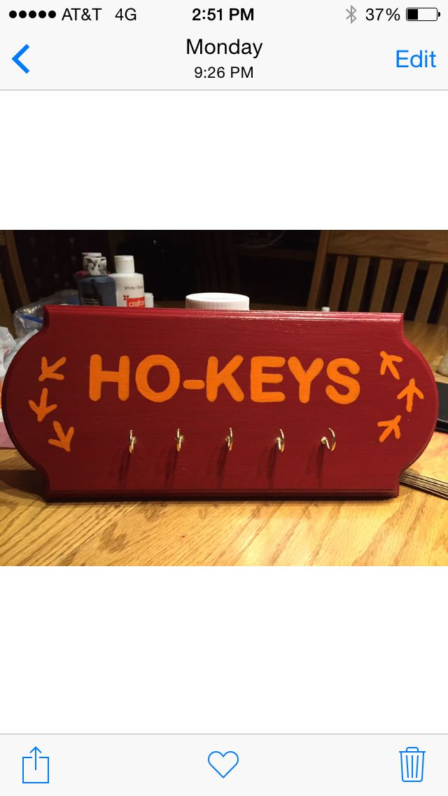 Virginia Tech Key Ring Holder Craft Ho-Keys  Hokie Feet