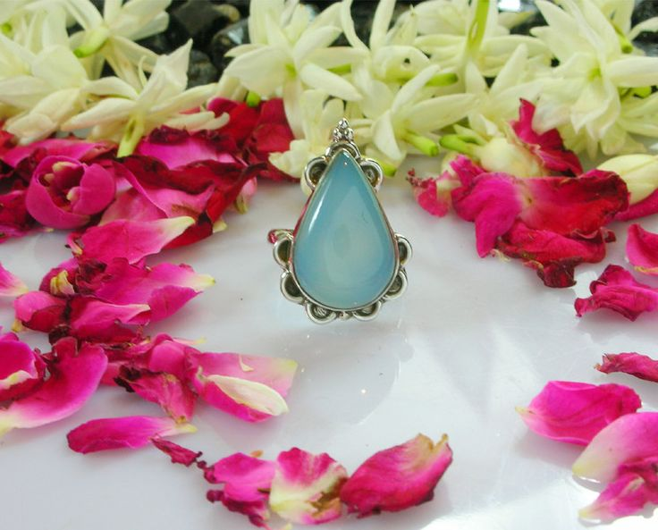 Chalcedony Jewellery – Blue Chalcedony Ring in 925 Sterling Silver – a unique product by IndianCraftPalace on DaWanda