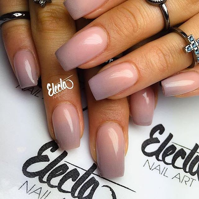 Beautiful nude acrylic ombré that transitions into a soft pale purple . Photo…