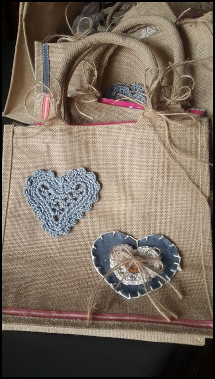 burlap bag gift for ladies at kitchen tea