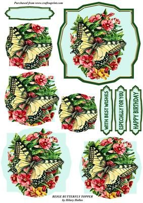 """Beige Butterfly Topper on Craftsuprint designed by Hilary Hallas - A 4.5""""x4.5"""" topper with pyramid layers and choice of sentiment tags featuring a vintage image of a beige butterfly on pink flowers. Matching background sheet available separately. - Now available for download!"""