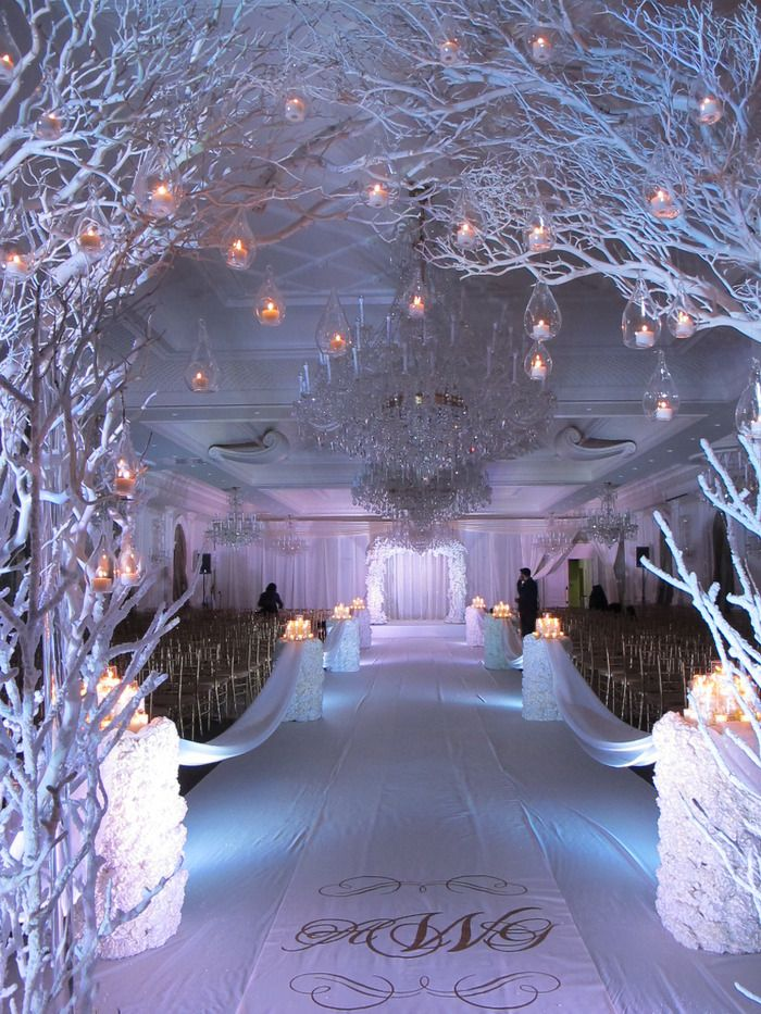 white-reception-winter-wedding-decor-with-white-painted-tree ...