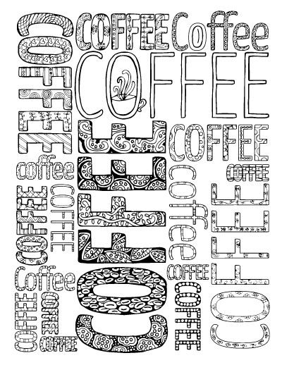 grab these adult coloring pages in a coffee theme