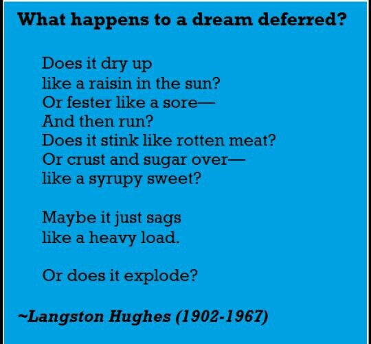 a dream deferred the poetry James mercer langston hughes (february 1, 1901 – may 22, 1967) was an american poet, social activist, novelist, playwright, and columnist from joplin, missourihe moved to new york city as a young man, where he made his career he was one of the earliest innovators of the then-new literary art form called jazz poetryhughes is best known as a leader of the harlem renaissance in new york city.
