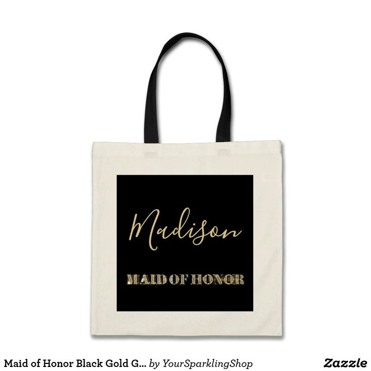 Maid of Honor Black Gold Glitter Typography #maidofhonor #wedding #blackandgold #tote