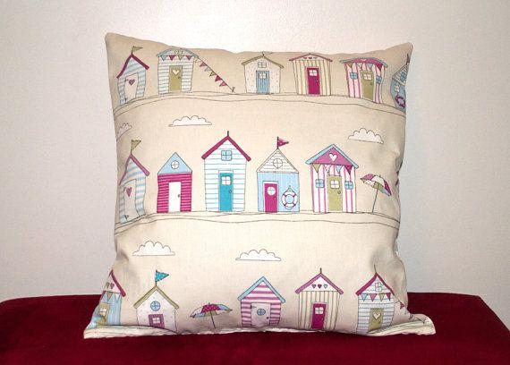 Pastel Beach Hut Seaside Pattern Reversible Cushion/Pillow Cover on Etsy, £8.00