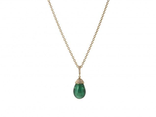 Ciondolo con cabochon di smeraldo e diamanti